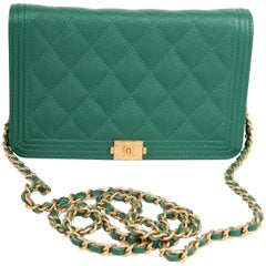 Chanel WOC Wallet on Chain Boy Bag - emerald green
