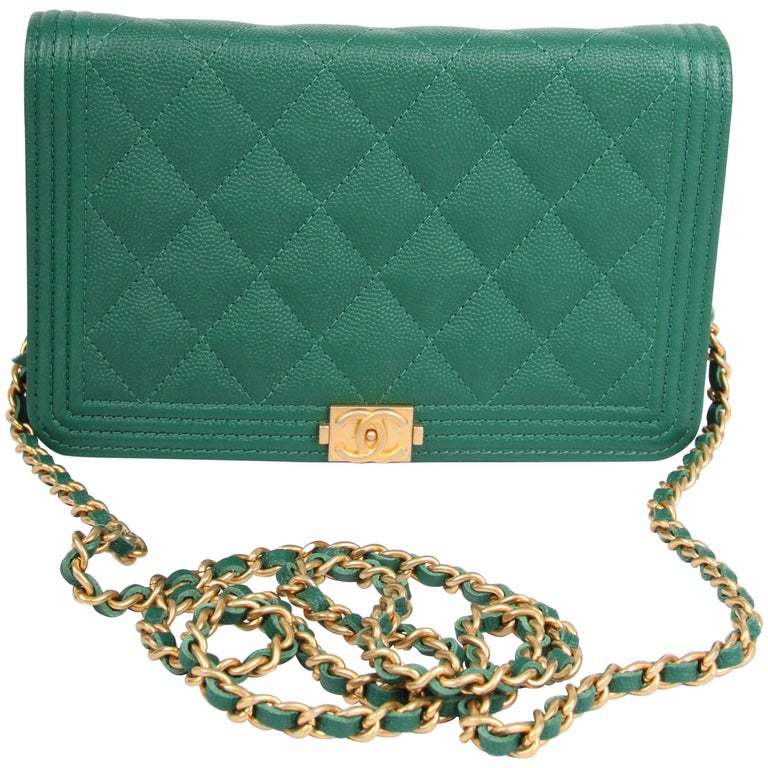b1d3f0309952 Chanel WOC Wallet on Chain Boy Bag - emerald green at 1stdibs