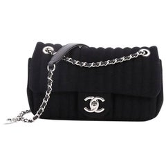 Chanel CC Charm Vertical Quilt Jersey Small Flap Bag