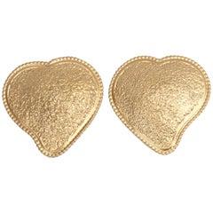 1980's YVES SAINT LAURENT brushed gold heart earrings