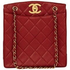 Chanel Red Caviar Leather Vintage Shoulder Bag