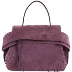 Tod's Studded Convertible Wave Bag Suede Medium