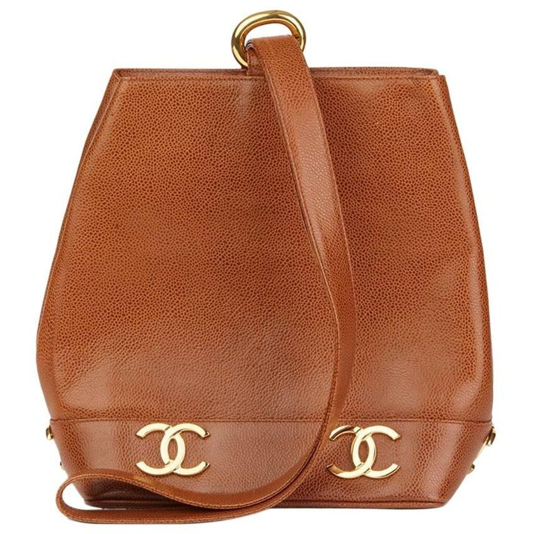 Chanel Brown Caviar Leather Vintage Bucket Bag For