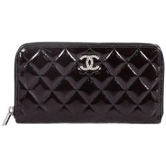 Chanel Brilliant Zip Around Wallet Quilted Patent Long