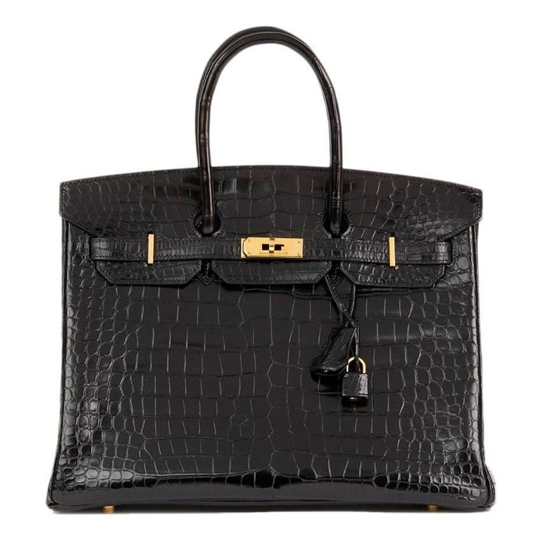 Hermes Black Shiny Crocodile 35cm Birkin Bag