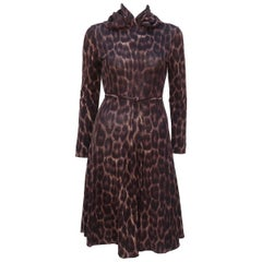 C.1970 Goldworm Animal Print Wool Knit Dress & Scarf Ensemble