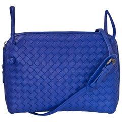 Bottega Veneta Cobalt Blue Intrecciato Leather Pillow Crossbody Bag with DB