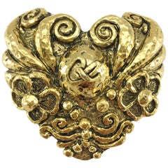 1980's Christian Lacroix Large Gold-Plated Heart-Shaped Brooch