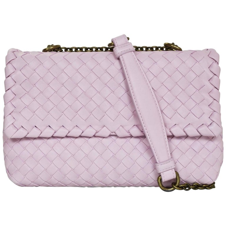 Bottega Veneta Light Pink Dragee Intrecciato Woven Leather Baby Olimpia Bag  For Sale