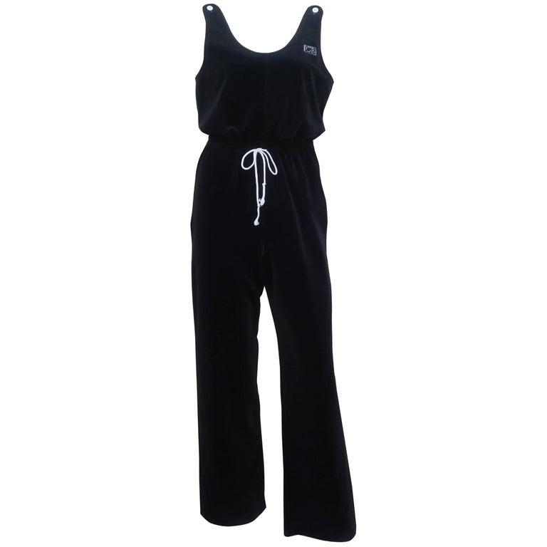 C.1980 Geoffrey Beene Black Velour Jumpsuit Lounger