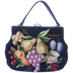 Needlepoint Fruit Theme Retro Handbag circa 1960s