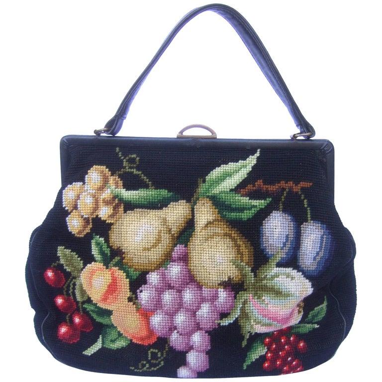 Needlepoint Fruit Theme Retro Handbag circa 1960s