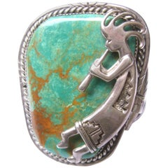 Southwestern Sterling Silver Artisan Stone Bracelet circa 1970s