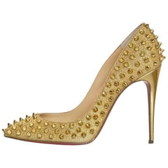 Christian Louboutin Gold Glitter Follies Spikes 100 Pumps with Box, DB