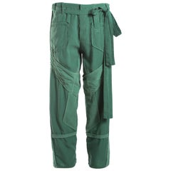 Balenciaga Nicolas Ghesquière green cotton and corduroy cargo pants, S / S 2002
