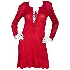 M Missoni Red Lace Up Dress Sz IT38