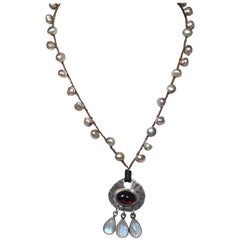 Jes Maharry Knotted Strand Pearl, Garnet, Moonstone Necklace