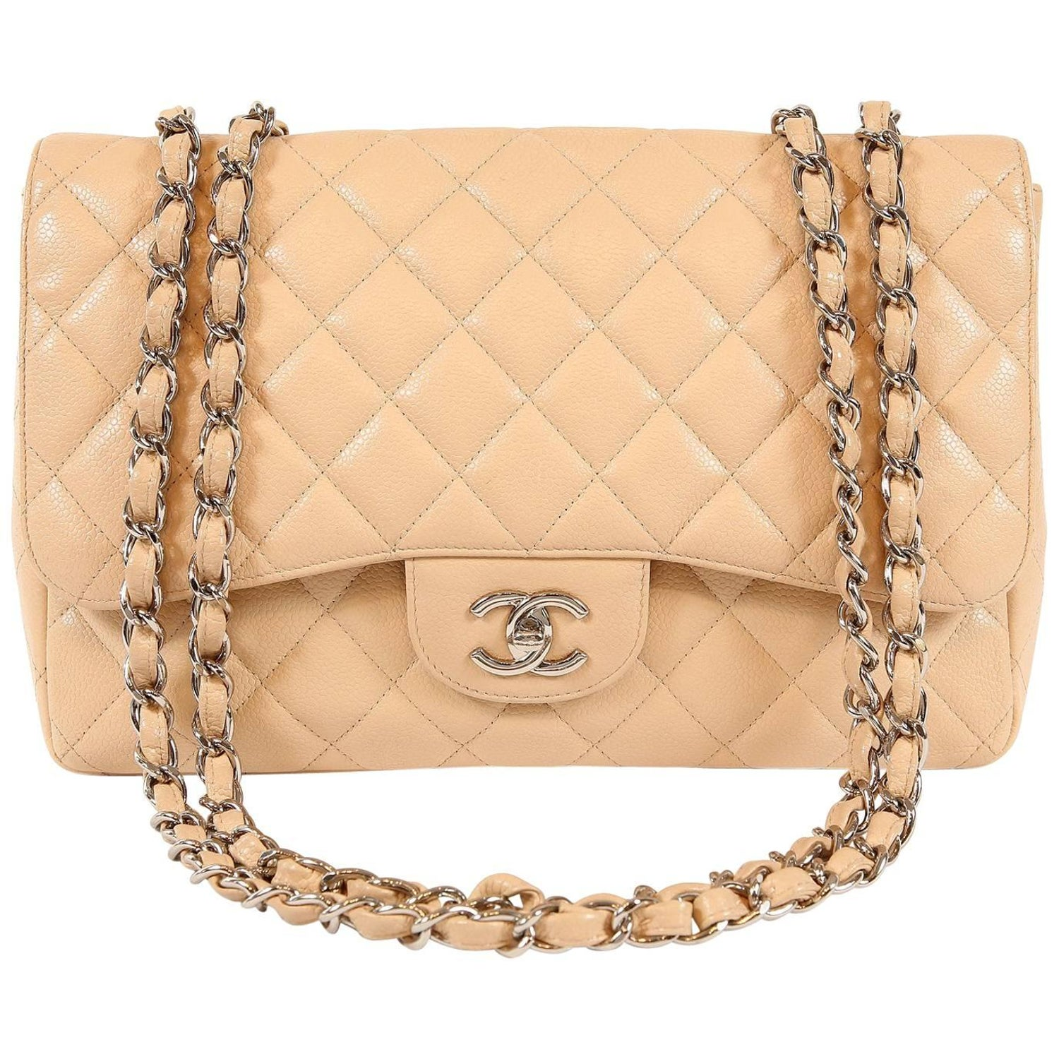 2a3513fa149d Chanel Beige Clair Caviar Leather Jumbo Classic Flap Bag with Silver HW at  1stdibs