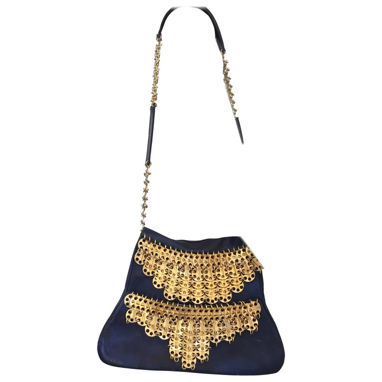 Paco Rabanne Vintage 1960s Leather Bag with Gold Disks For Sale
