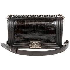 Chanel Black Crocodile Medium Boy Bag