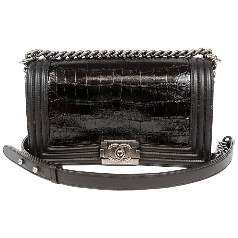 Chanel Black Crocodile Medium Boy Bag