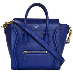 Celine Cobalt Blue Drummed Calfskin Nano Luggage Tote Crossbody Bag with DB