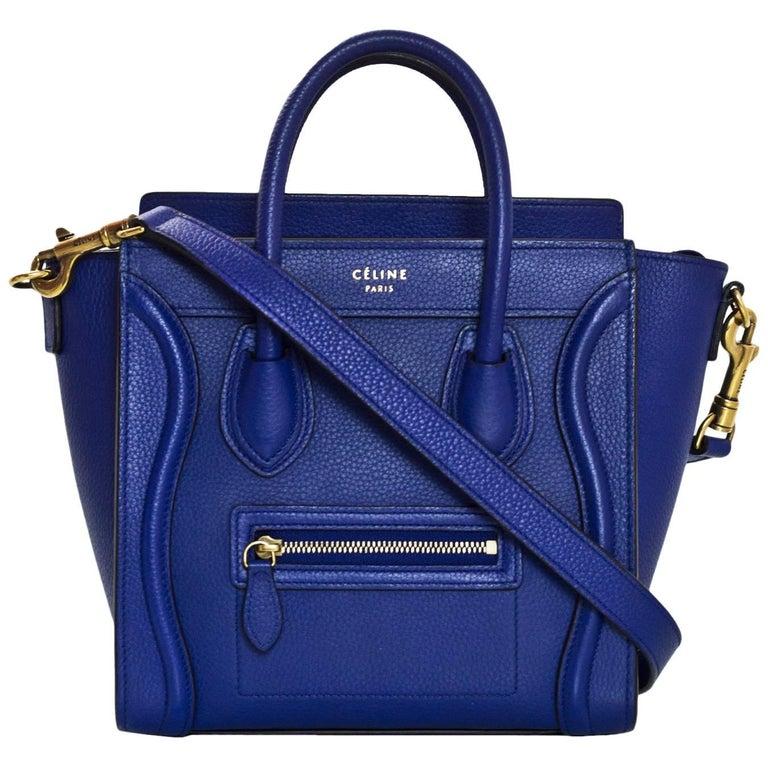 Celine Cobalt Blue Drummed Calfskin Nano Luggage Tote Crossbody Bag with DB