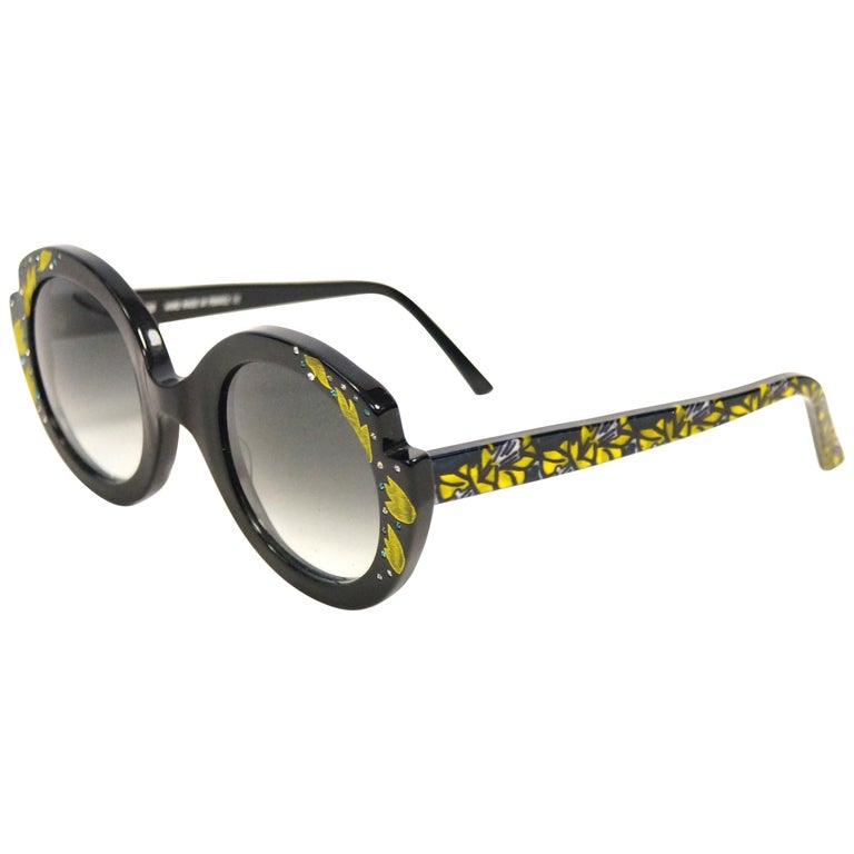"""Francis Klein """"Bleuet"""" Handmade and Handpainted Sunglasses Made In France For Sale"""