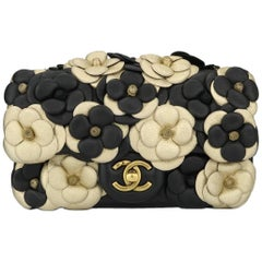 Chanel Camellia Mini Black / Gold Lambskin bag with Antique Gold Hardware, 2015