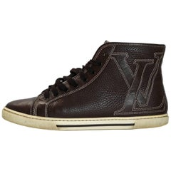 Louis Vuitton Brown Leather LV Mid-Top Sneakers Sz 35.5