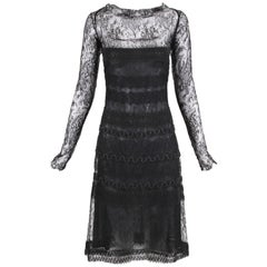 Vintage Guy Laroche Couture Black Lace Illusion Cocktail Dress