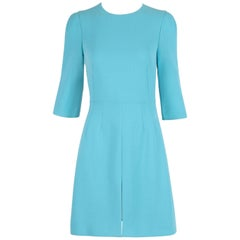 "Dolce & Gabbana Blue Wool Crepe Cocktail Day Dress w/3/4"" Sleeves"
