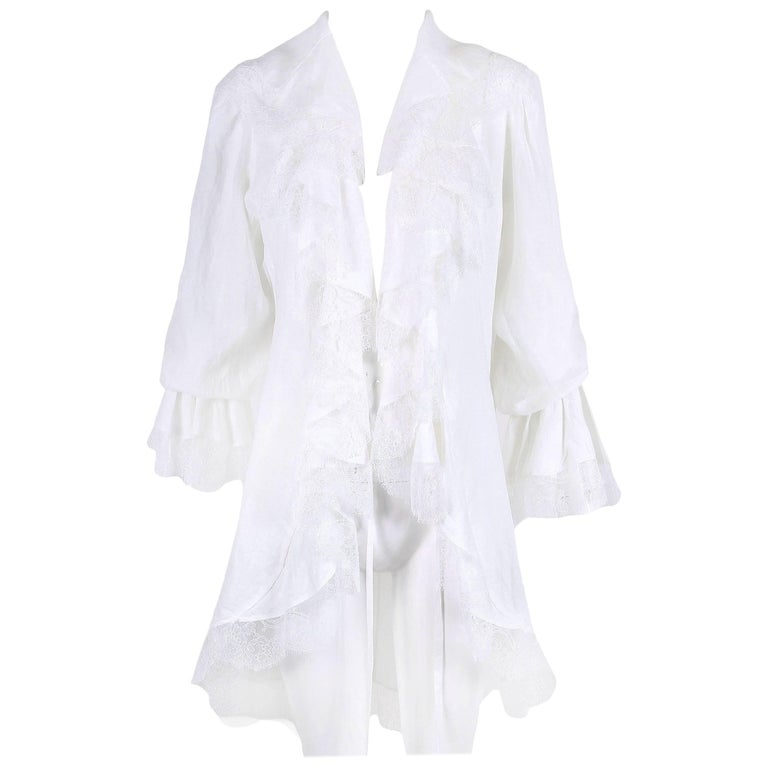 Yves Saint Laurent YSL White Linen Poet Blouse with Open Front and Lace Trim