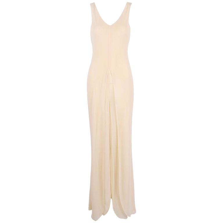Alberta Ferretti Multi Layered Cream-Colored Bias Cut Sleeveless Gown