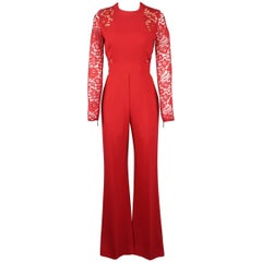 Elie Saab Red Lace Panel Long Sleeve Flared Jumpsuit
