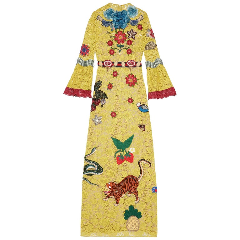 Gucci Yellow Lace Embroidered Dress Gown,  Cruise 2016 Collection For Sale