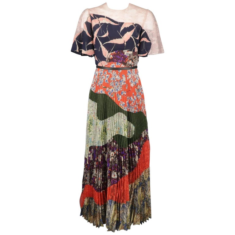 Valentino Multicolor Printed Patchwork Silk Pleated Maxi Skirt Cocktail Dress