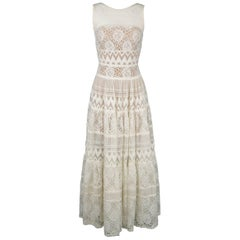 Elie Saab White Cotton / Silk Mixed Lace Sleeveless Peasant Maxi Dress