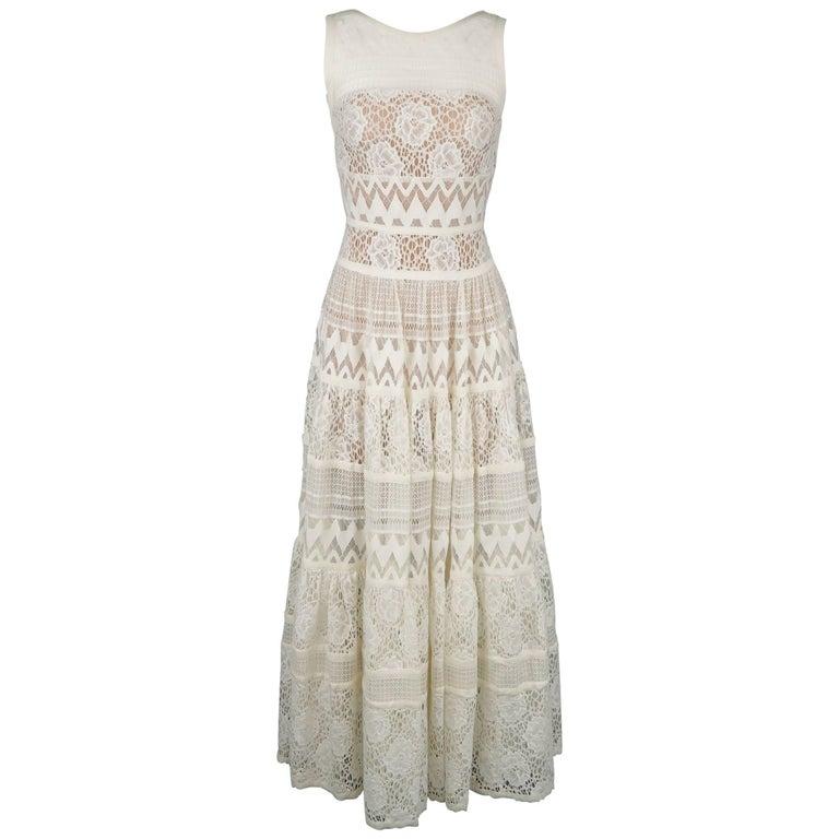 ELIE SAAB Size 4 White Cotton / Silk Mixed Lace Sleeveless Peasant Maxi Dress