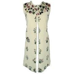 Valentino Cream Floral Embellished Shearling Vest