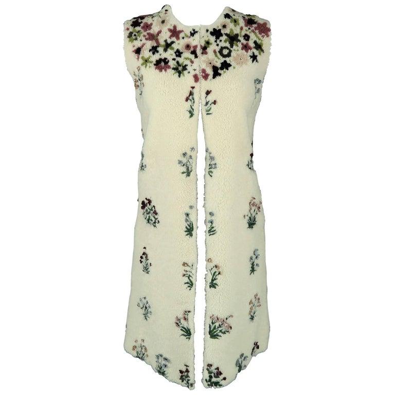 VALENTINO Size S Cream Floral Embellished Shearling Vest