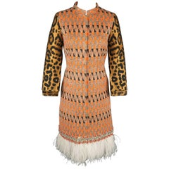Giambattista Valli Orange Leopard Print Sleeve Beaded Feather Trim Dress