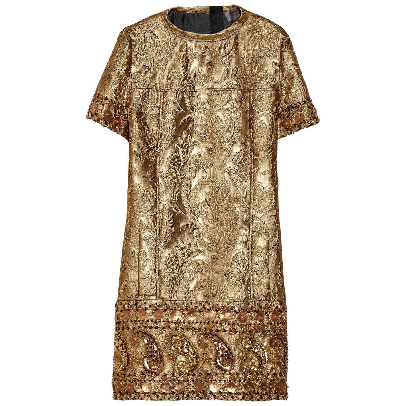 Lanvin Woman Metallic Jaquard Gown Gold Size 34 Lanvin TjZpZBw