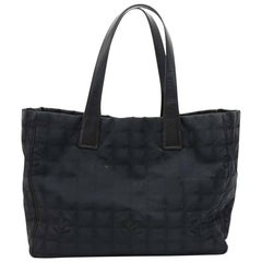 Chanel Travel Line Black Jacquard Nylon Tote Bag
