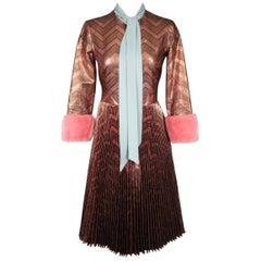Gucci Brown Zig Zag Lurex Plissé Dress
