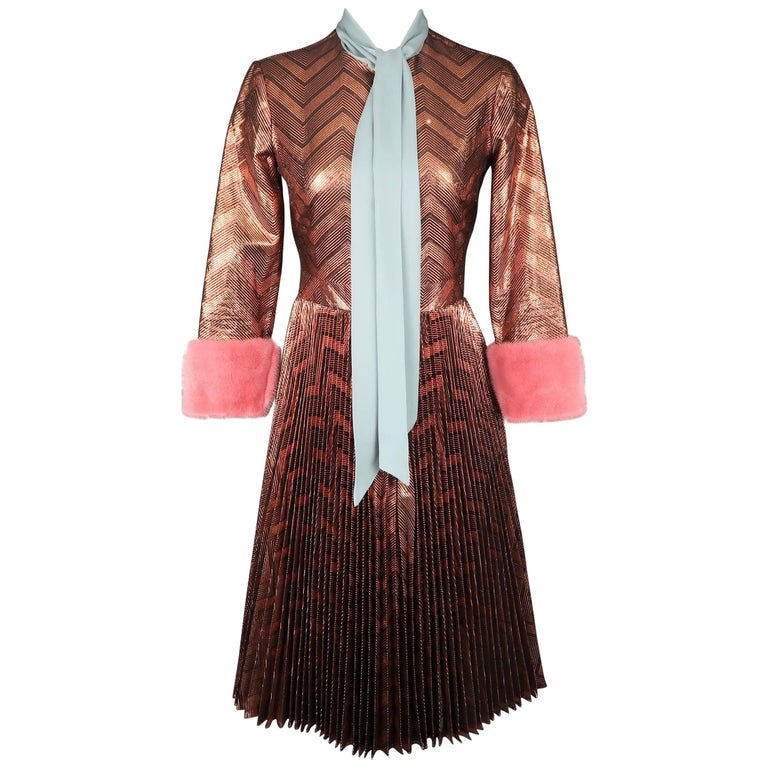Gucci Brown Zig Zag Lurex Plissé Runway Dress, Fall 2015 For Sale