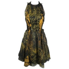LANVIN Size 4 Olive Green & Gold Floral Silk Chiffon Pleated Cocktail Dress
