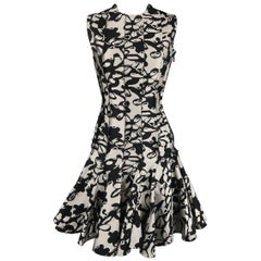 LANVIN Size 4 Black & Grey Print Reverse Seam Drop Ruffle Skirt Cocktail Dress