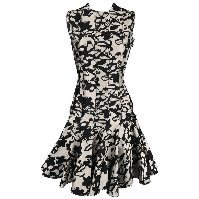 7913f61c0494 LANVIN Dress - Size 4 Black & Grey Print Reverse - Ruffle Skirt Cocktail  Dress For