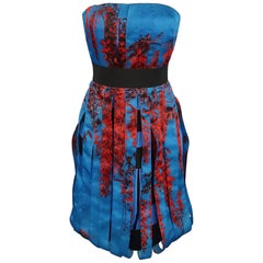 Christian Dior Blue and Red Floral Silk Ribbon Bustier Cocktail Dress